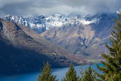 Landscape of lake in the south Island, Queenstown New Zealand Royalty Free Stock Photos