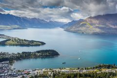 Landscape of lake in the south Island, Queenstown New Zealand Stock Images
