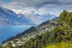 Landscape of lake in the south Island, Queenstown New Zealand Stock Image