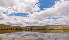 Altai landscape: lake steppe sky Royalty Free Stock Photos