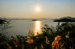 Landscape of the lake at sunset. Royalty Free Stock Photography