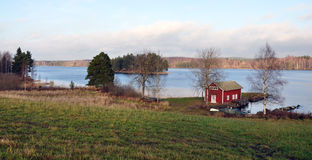 Landscape and lake in Sweden, Scandinavia, Europe Stock Photography