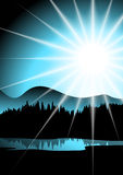 Landscape with lake, trees and sun. Simple stylized drawing scenery including the sun, forest and lake royalty free illustration