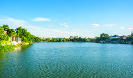 Landscape lake view village and home near lake Stock Image
