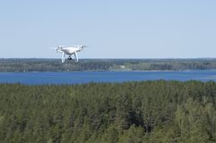 Landscape with lake from watchtower and drone above forest stock images