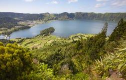 Landscape with lakes. Lagoa azul lagoa verde. Sao Miguel. Azores Stock Photos