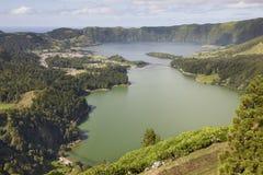 Landscape with lakes. Lagoa azul lagoa verde. Sao Miguel. Azores Royalty Free Stock Photo