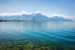 Landscape. Lakeside and snowy mountains at the sunny day Stock Image