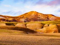 Landscape at Landmannalaugar in rhyolite mountains of the Fjallabak Nature Reserve, aka Rainbow mountains, Iceland Royalty Free Stock Photo