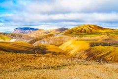 Landscape at Landmannalaugar in rhyolite mountains of the Fjallabak Nature Reserve, aka Rainbow mountains, Iceland Stock Images