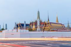 Landscape, Landmark,Temple Wat Pra Kaew, Thai religion morning Before sunrise, Bangkok, Thailand.  stock image