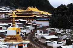 Landscape of Langmu Temple. The landscape around the Langmusi Town is famed as China`s` little Switzerland`. The scenary here is absolutely fantastic, red Stock Photos