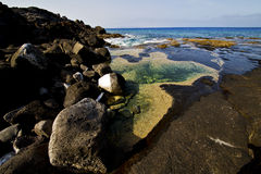 Landscape   in lanzarote spain isle Stock Photo