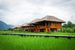 Landscape of Laos Vang Vieng Rice field Resort Stock Photos
