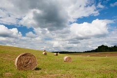 Hay rolls in countryside. Landscape with large clouds in sky and hay rolls in meadow in countryside Royalty Free Stock Image