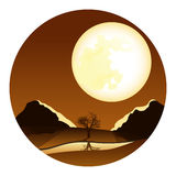 Landscape with a large moon Stock Photos