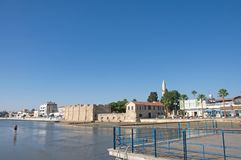 Landscape of Larnaca Fort, Larnaka Cyprus. Landscape of Larnaca Fort and Medieval Museum, Larnaka, Cyprus, with city`s beach royalty free stock photography