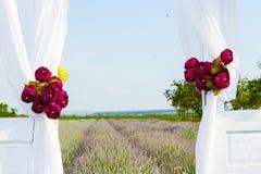 Landscape with lavender field seen through open door