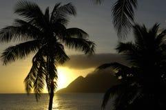 Landscape of Le Diamant in Martinique Stock Images