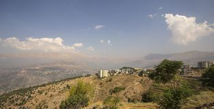 Landscape of Lebanon with mountain and Cedars near Bcharre, Lebanon royalty free stock photography