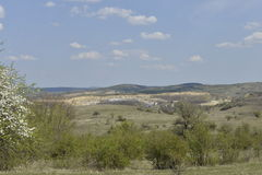 Landscape with the Leghia quarry. Stock Image
