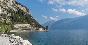 Landscape with lemon house. Of Tignale at Lake Garda in Italy stock photo