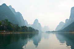 Landscape of Li River in Winter, Guilin, China. The Li River or Lijiang is a river in Guangxi Zhuang Autonomous Region, China Royalty Free Stock Photos