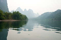 Landscape of Li River in Winter, Guilin, China. The Li River or Lijiang is a river in Guangxi Zhuang Autonomous Region, China Royalty Free Stock Photography