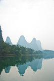 Landscape of Li River in Winter, Guilin, China. The Li River or Lijiang is a river in Guangxi Zhuang Autonomous Region, China Stock Photography