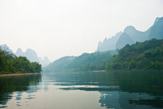 Landscape of Li River in Winter, Guilin, China. The Li River or Lijiang is a river in Guangxi Zhuang Autonomous Region, China Royalty Free Stock Photo