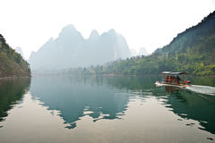 Landscape of Li River in Winter, Guilin, China. The Li River or Lijiang is a river in Guangxi Zhuang Autonomous Region, China Royalty Free Stock Images