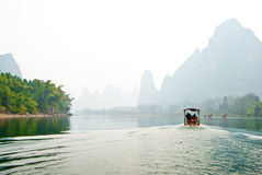 Landscape of Li River in Winter, Guilin, China Royalty Free Stock Photo
