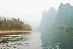 Landscape of Li River in Winter, Guilin, China. The Li River or Lijiang is a river in Guangxi Zhuang Autonomous Region, China Stock Images