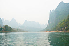 Landscape of Li River in Winter, Guilin, China. The Li River or Lijiang is a river in Guangxi Zhuang Autonomous Region, China Royalty Free Stock Image