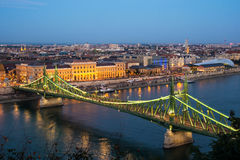 Landscape with the Liberty Bridge in the evening in Budapest, Hu Royalty Free Stock Images