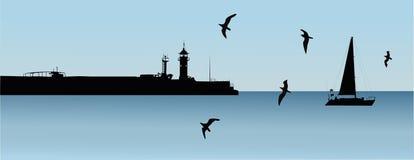 Landscape lighthouse. Sailboat quay landscape stock illustration