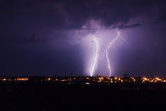 Landscape with lightning Stock Images