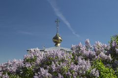 Landscape with lilac beside cathedral with golden dome Stock Images