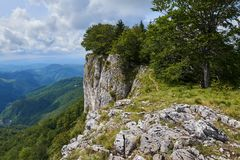 Mountains covered in forests. Landscape with limestone mountains covered in deciduous forests Royalty Free Stock Photos