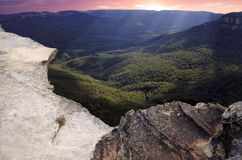 Landscape of Lincoln Rock Lookout at sunset of the Grose Valley Stock Photo