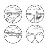 Landscape line icon collection. Vector illustration. Summer nature Royalty Free Stock Photo