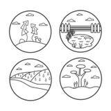 Landscape line icon set. Vector illustration. Summer nature Stock Images