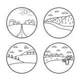 Landscape line icon set. Vector illustration. Summer nature. Line art Royalty Free Stock Images