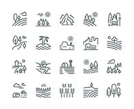 Landscape line icons. Nature park mountain hill forest trees and countryside garden, industrial megapolis cityscape. Vector pictograms set royalty free illustration