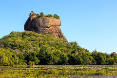 Landscape of lion rock and lake at Sigiriya, Sri Lanka Stock Image