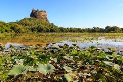 Landscape of lion rock and lake at Sigiriya, Sri Lanka Stock Photos