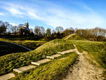 Landscape of Lithuania. Kernave Hills near the Capital City of Lithuania and the Church in the Horizon Royalty Free Stock Photo