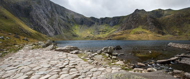 Landscape of Llyn Idwal with Devil's Kitchen Royalty Free Stock Images