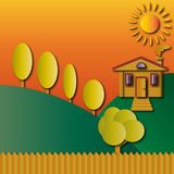 Landscape, log house, trees and fence, hills and sun in orange tones. Vector illustration Stock Photo