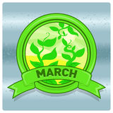 Landscape logo month of March. Vector image of a logo emblem symbol of the calendar month. The  nature of the flat design of the season. The template for Stock Photo